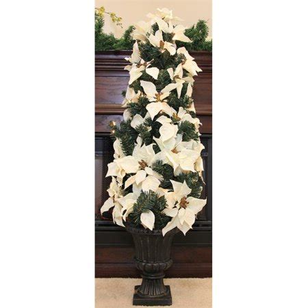 clear poinsetta holiday flower xmas lights northlight 46 inch pre lit white artificial poinsettia potted tree clear lights