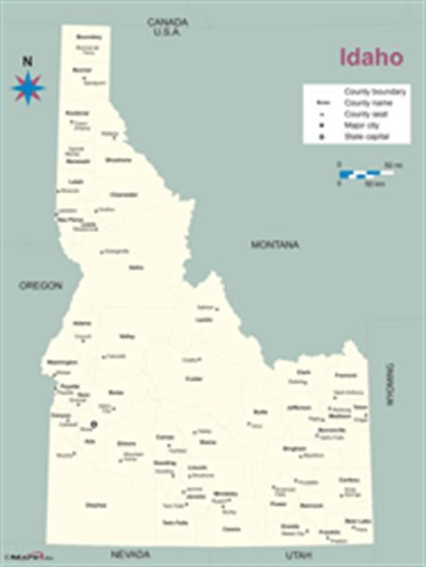 Idaho County Map Outline by Idaho County Outline Wall Map By Maps