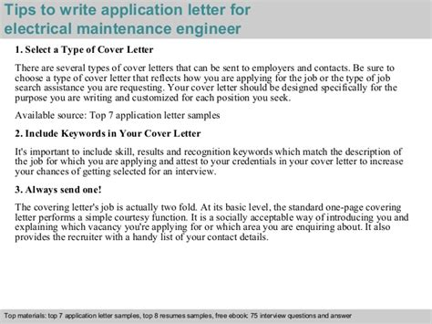 application letter for electric company electrical maintenance engineer application letter