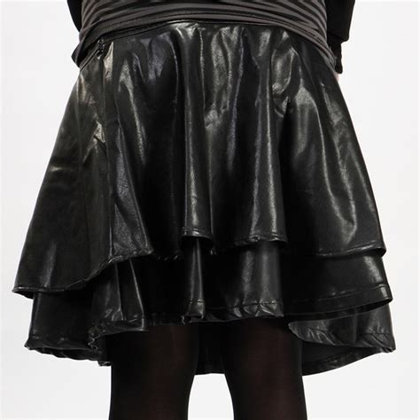 leather skirt pleated m l xl xxs xxxl black plus