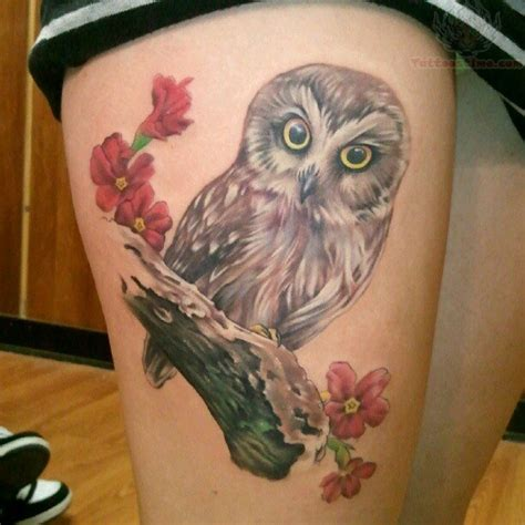owl thigh tattoos owl on right thigh