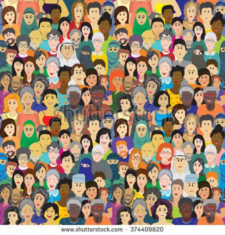 pattern race definition vector seamless pattern crowd multinational people stock