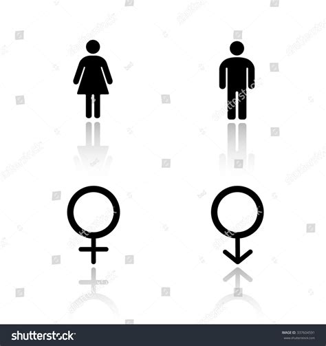 male female bathroom symbols man woman silhouettes drop shadow icons stock vector