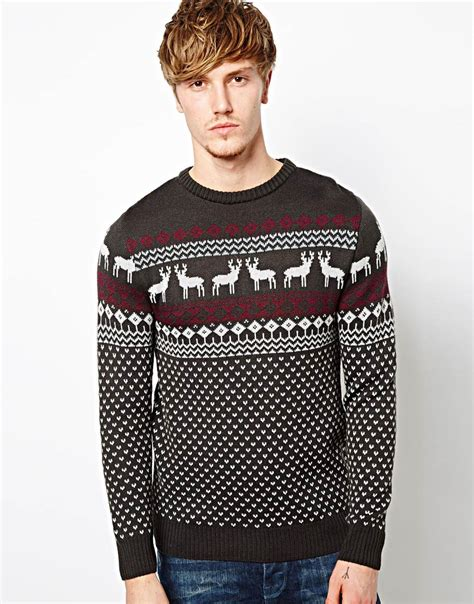 mens pattern christmas jumper sweaters jumpers