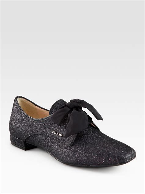 glitter oxford shoes prada glitter oxfords in black lyst