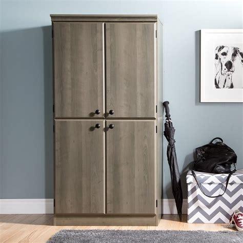 morgan 4 door storage cabinet south shore morgan 4 door wood storage cabinet in gray