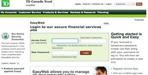 reset online banking password td easyweb td