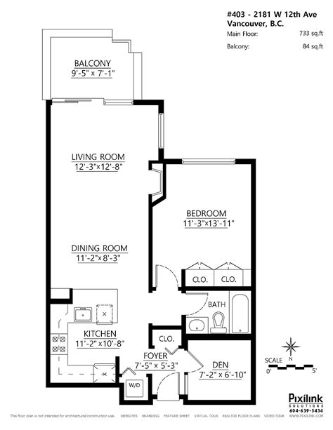 floor plan with balcony small penthouse apartment in vancouver with a space saving