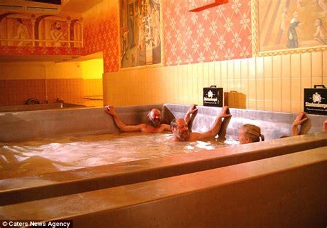 beer bathtub schloss starkenberger in austria offers guests bath in