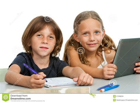 Portrait Of Two Young Students At Desk Stock Images Students At Desk