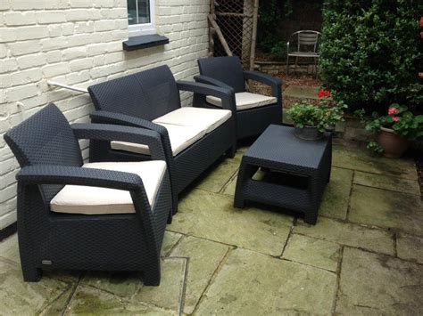 4 Seater Lounge Set Plastic Rattan Garden Furniture Keter Plastic Rattan Outdoor Furniture