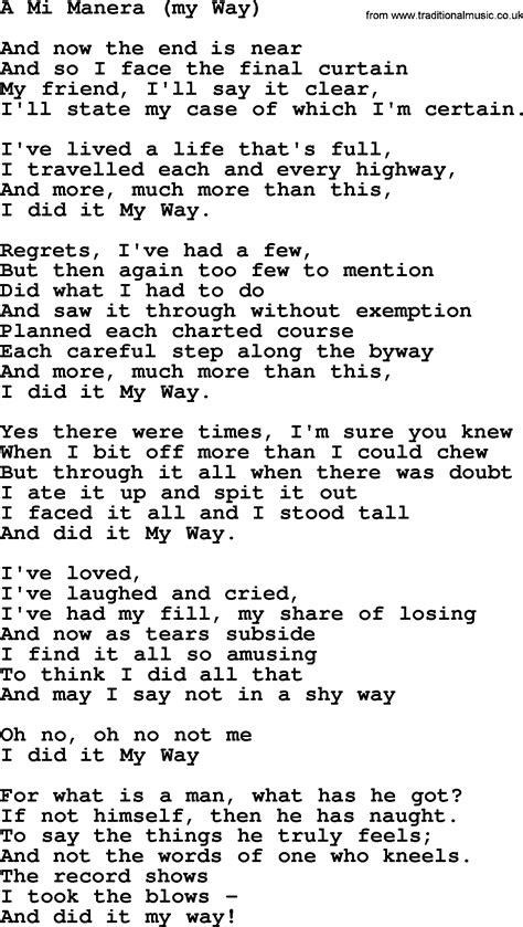 a mi manera joan baez song a mi manera my way lyrics