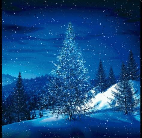Animated winter snow scene with snow falling on trees