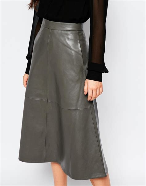 mango a line midi faux leather skirt in gray lyst