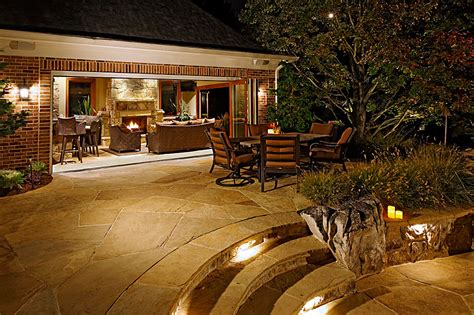 Fireplace flagstone and boulder terraces pool house outdoor
