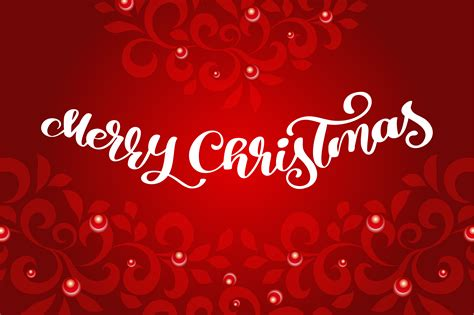 merry christmas calligraphy vector text  flourishes lettering design  red background
