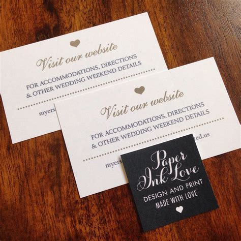 Wedding Website Cards, Enclosure Cards, Wedding Hashtag