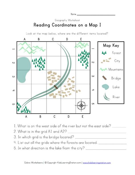Reading Maps Worksheets by Reading Coordinates On A Map Worksheet