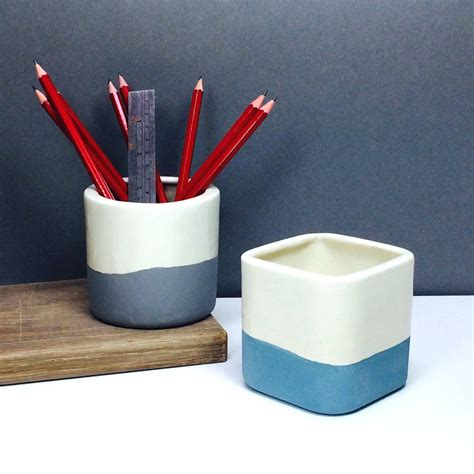 desk pot two tone handmade ceramic desk tidy pen and pencil pot by gilbert and stone ceramics