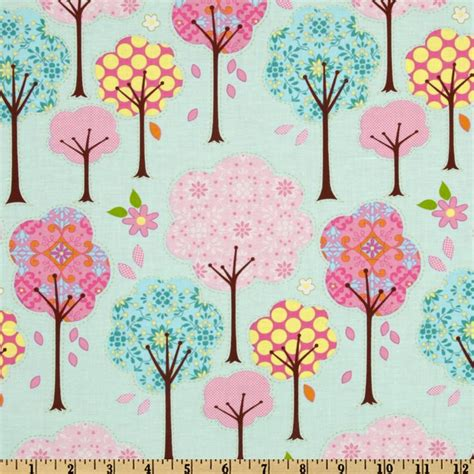 pretty little things trees blue discount designer fabric