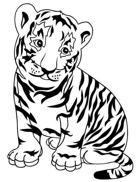 Tiger Cubs Coloring Pages baby tiger cub coloring page h m coloring pages