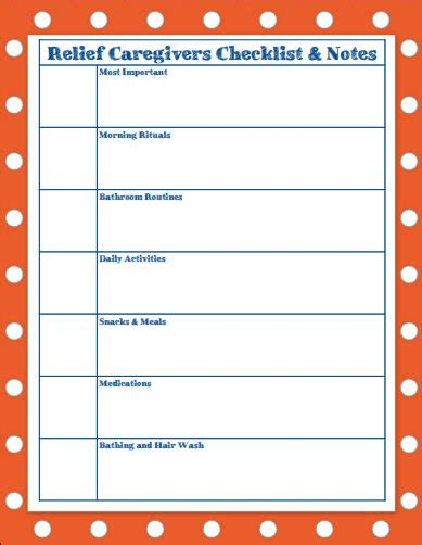 Need A Break Organize Your Relief Caregiving Team Creating Daily Joys Caregiver Daily Checklist Template