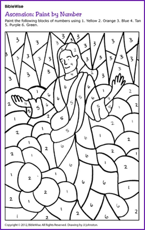 bible coloring pages color by number paint by number jesus ascension kids korner biblewise