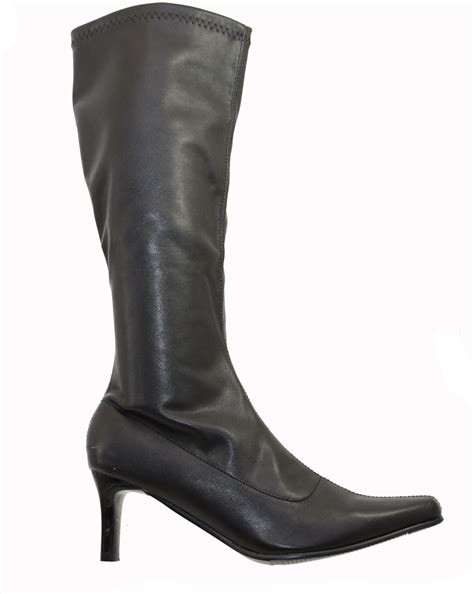 black faux leather stretch knee calf boots 2 5 inch