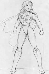 Superwoman Cartoon Drawings Sketch Coloring Page sketch template
