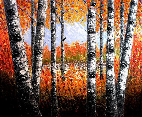 Summer Duvet Cover Birches Forest Palette Knife Painting Painting By Georgeta