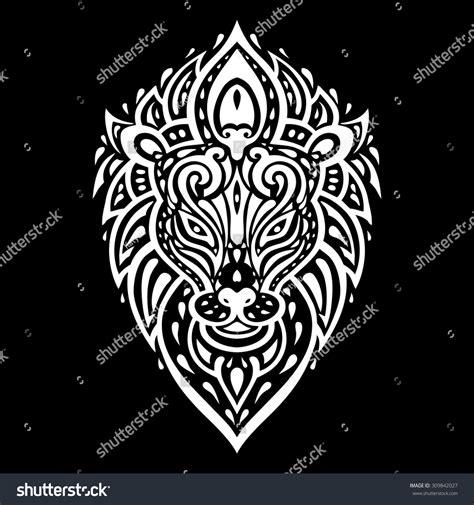 tribal pattern lion lion head tribal pattern polynesian tattoo stock vector