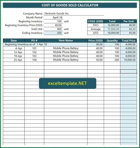 Cost Of Goods Sold Calculator Updated Excel Templates Lifo Excel Template