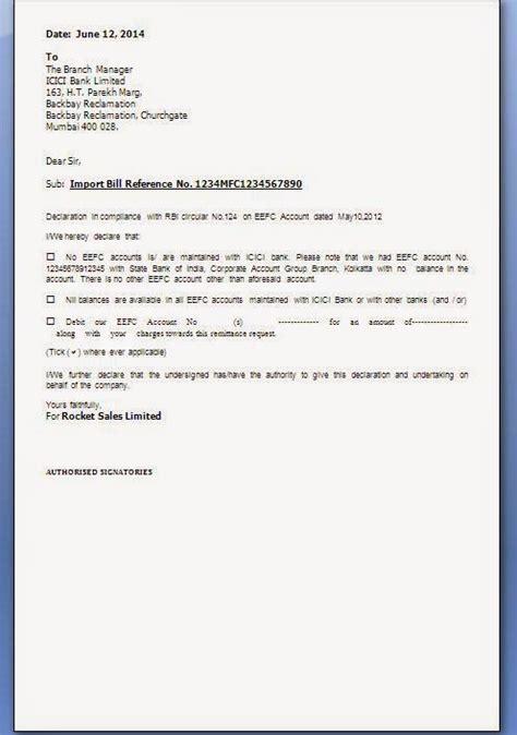 Bank Declaration Letter Rbi Effc Declaration Letter Format