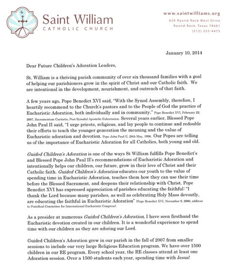 Recommendation Letter Sle Dean Letter From Rev Dean E Wilhelm Guided Children S Adoration