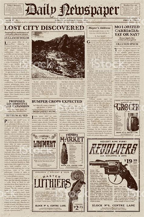 newspaper layout styles vintage victorian style newspaper design template stock