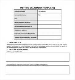 will template free sle method statement template 8 documents in pdf