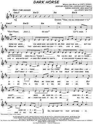 printable lyrics to dark horse katy perry quot dark horse quot sheet music download print