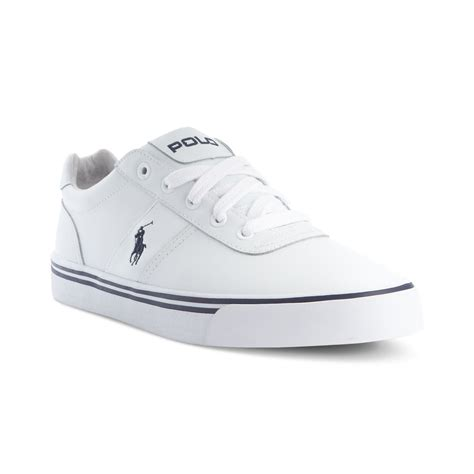 polo ralph hanford leather sneakers in white for