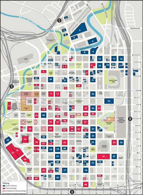 houston map downtown streets houston downtown parking map