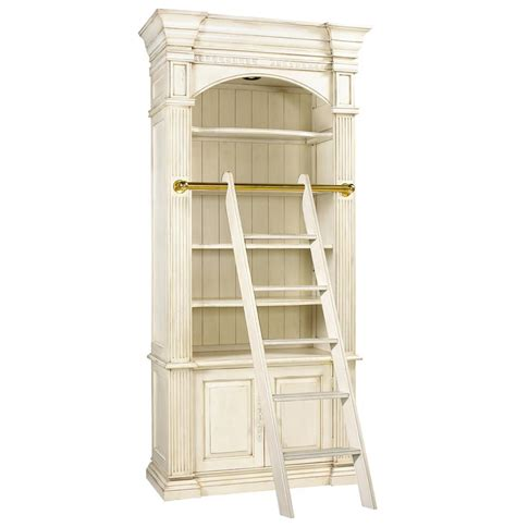 Bookcase With Library Ladder Percier Country White Single Library Bookcase With Ladder Kathy Kuo Home