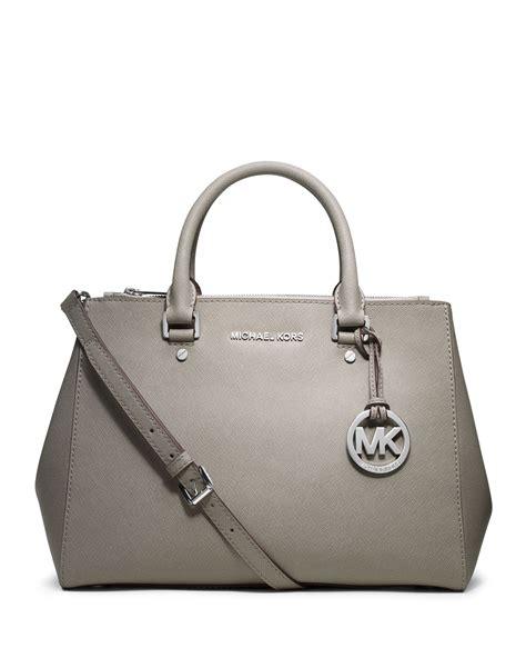 michael kors michael sutton medium satchel in gray pearl