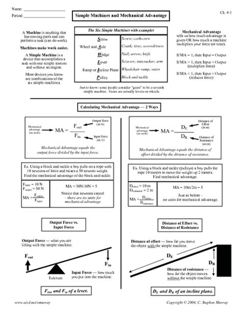 Calculating Mechanical Advantage Worksheet With Answers by Mechanical Advantage Worksheet Lesupercoin Printables