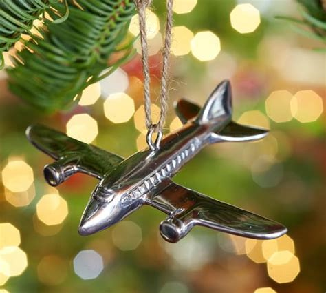 silver plane ornament pottery barn