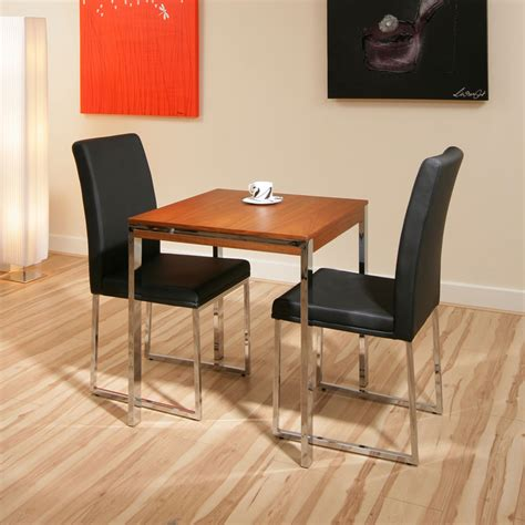 Dining Table Two Chairs Walnut Small Square Dining Table 2 Black Chairs Cafeb Ebay