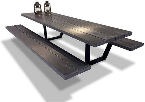 picnic table handmade picnic tables cassecroute wood and aluminium