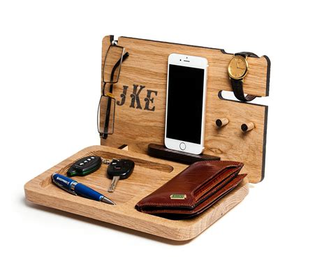 Mens Desk Organizer Gift For Him Iphone Station Personalized Exclusive Monogram Gift For Boyfriend Mens