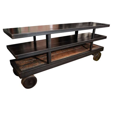 credenza on wheels industrial metal credenza on factory wheels at 1stdibs