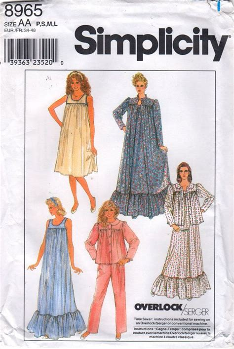 sewing pattern victorian nightgown simplicity 8965 misses victorian style pullover nightgown