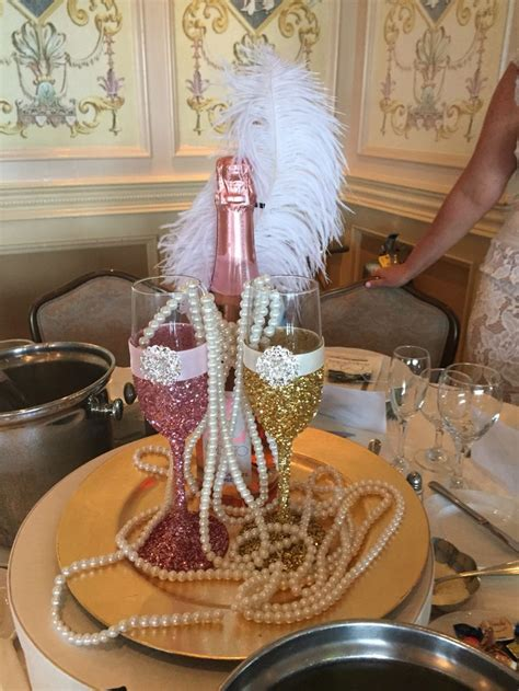 great gatsby bridal shower ideas great gatsby bridal shower centerpiece pink prosecco with chagne glasses with glitter