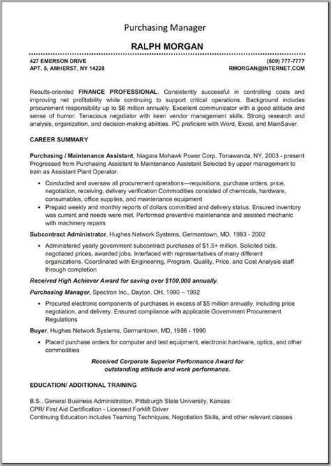 Procurement Resume Format by Procurement Specialist Resume Sles Rimouskois Resumes